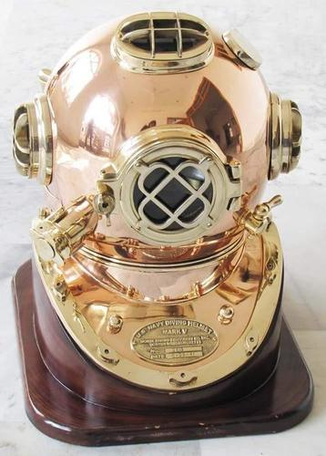 Nautical Solid Shiny Brass & Copper Divers Diving Helmet Us Navy