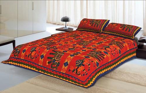 Kantha work bed sheets multicolor