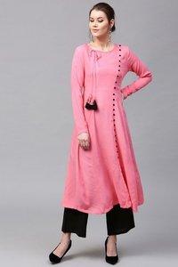 Pink Angrakha Style Kurta