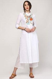 White Embroidery Front & Side Slit Kurta
