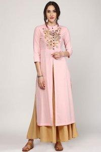 Pink Embroidery Front & Side Slit Kurta