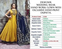 DESIGNER WEDDING WEAR HANDWORK GOWNS HAND PRINT DUPATTA