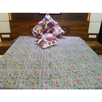 Indian Handmade Kantha Thread Embroidery on Floral Printed 100% Cotton Grey dyed Fabric Calming Look Tapestry And Bedsheet