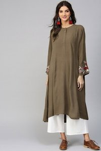 Embroidered Sleeve Crinkled Brown Kurta