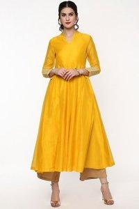 Yellow Anarkali Kurta With Gota Lace On Cuff