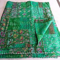 Indian Silk Patchwork Throw Saree Reusable Patch Patola Silk Kantha Embroidery Work Bedspread Bed Sheet Tapestry Quilt