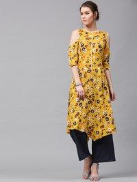 Mustard Floral Handkerchief Hem Kurta