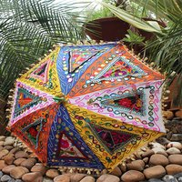 Indian Cotton Vintage Handmade Banjara Fabric Sun Protected Umbrella