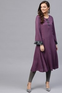 Purple Fringed Sleeves Kurta