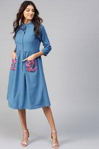 Floral Printed Pocket Blue Ethnic Midi Dress