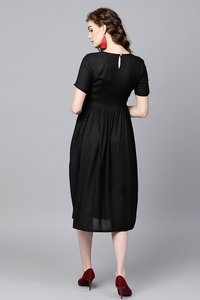 Black Ethnic Dress With Printed Pockets