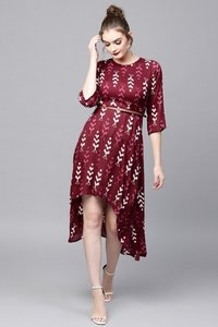 Maroon Ikat High Low Ethnic Belted Dress