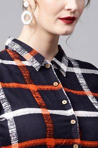 Navy Check Shirt Ethnic Belted Dress