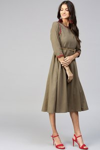 Brown Embroidered Belted Ethnic Dress