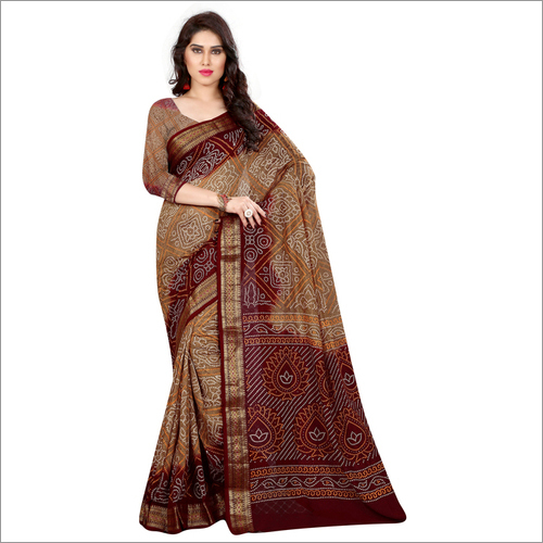 Bandhani Printed Designer Cotton Silk Saree