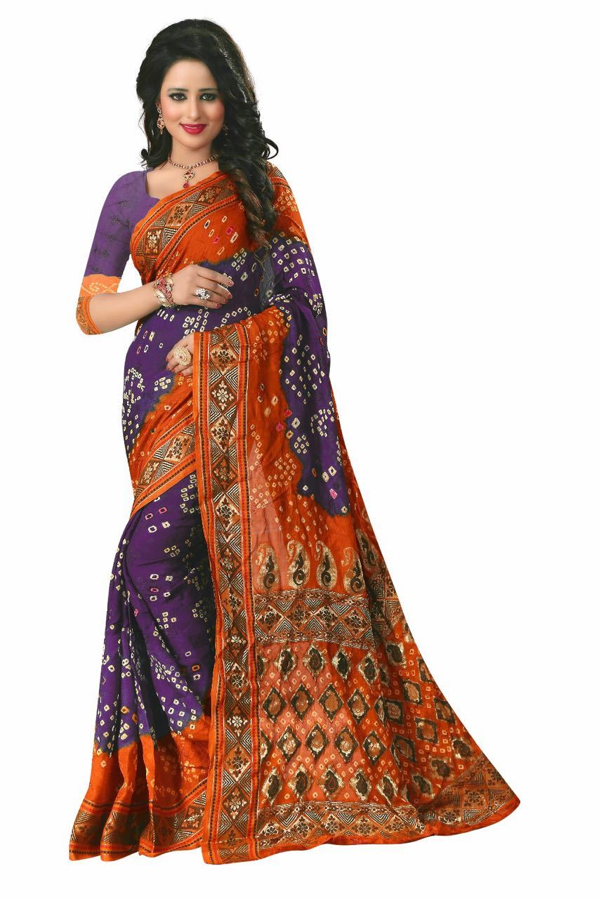 Bandhani Print Silk Saree