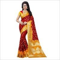 Bandhani Silk Printed Saree