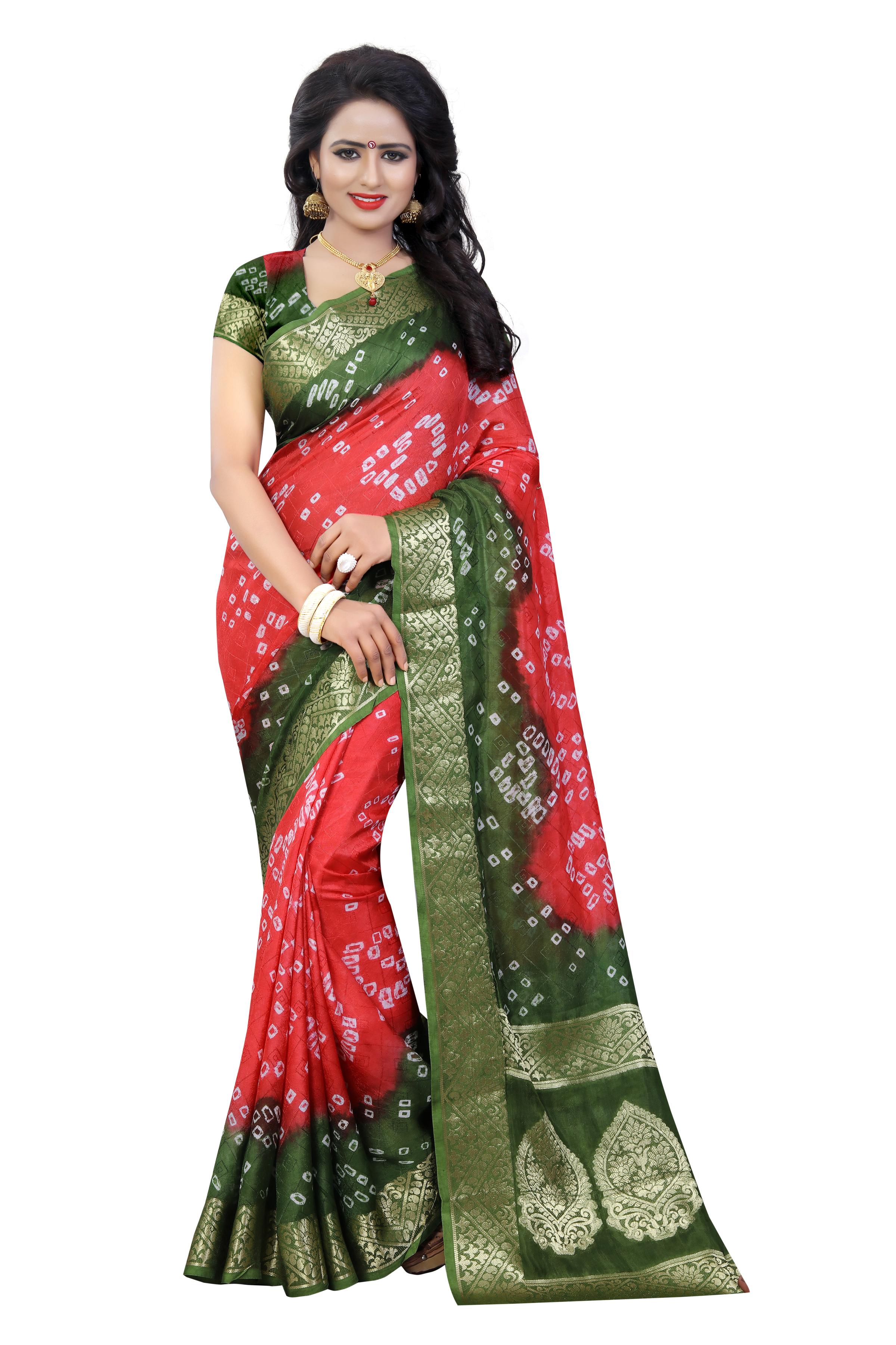Fancy Print Bandhani Silk Saree
