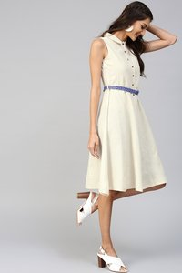 Off-White Embroidered Belt Ethnic Midi Dress