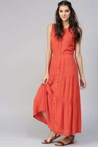 Tiered Front Button Crinkled Rust Maxi