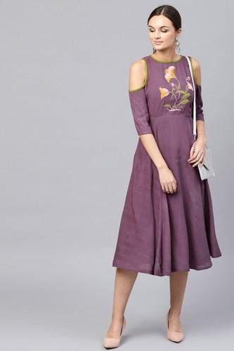 Purple Cold Shoulder Dress