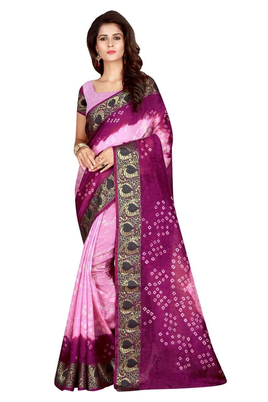 Bandhani Printed Silk Saree