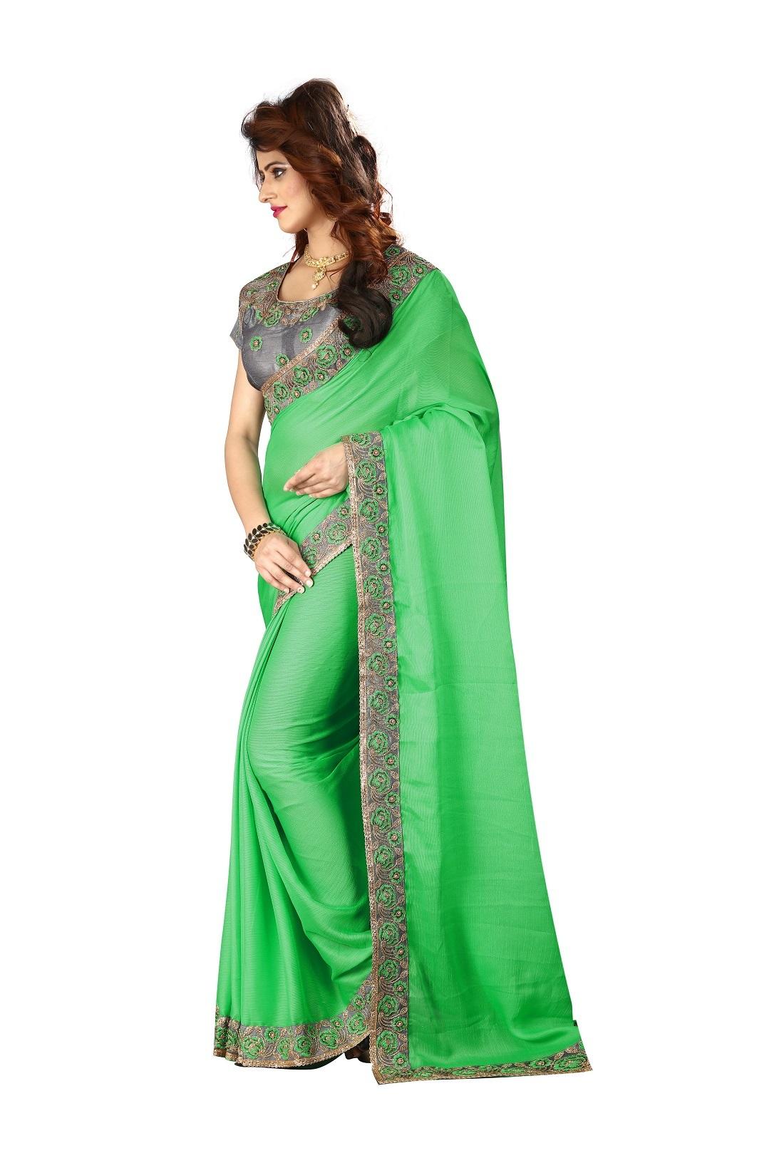 Designer Chiffon Saree with Golden lace