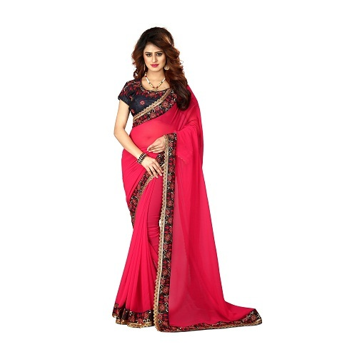 Blooming Georgette Saree with big borger