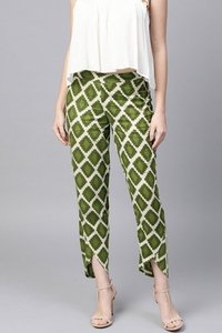 Green Geo Print Dhoti Pants