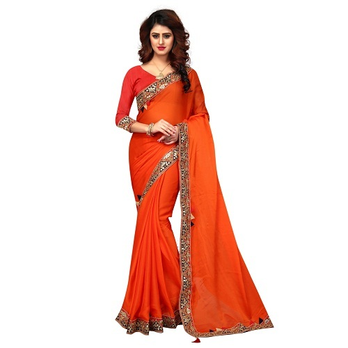 Designer Chiffon sarees with Lace