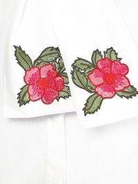 Flower Patch Neck Tie White Shirt