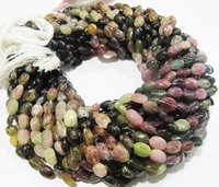 ON SALE Natural Multi Tourmaline Oval Plain Smooth Nugget Beads