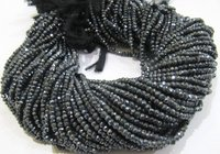 ON SALE Natural Black Spinel Mystic Silver Coated Rondelle Beads