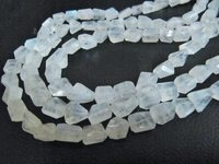 ON SALE NaturaL White Rainbow Moonstone Nugget Shape Blue Flashy Beads