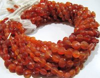 SALE Carnelian Coin Shape Faceted Beads Size 7mm Orange