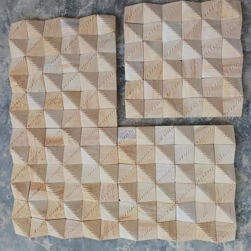 Teak Wood Wall Cladding Curving Work Sand Stone