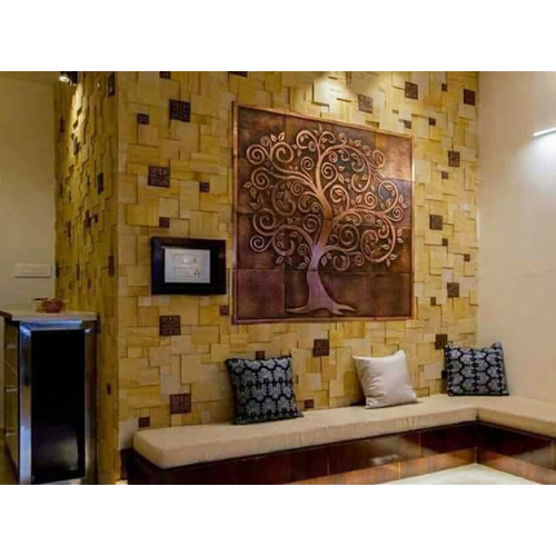 Sand Stone and Copper Metal Mix Mosaic Tiles