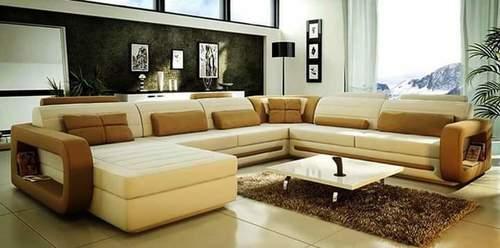 L Shape Wooden Sofa Set