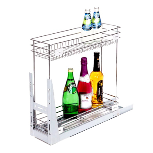 Stainless Steel 2 Shelf Bottle Pullout