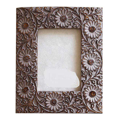 Carved Mango Wood Photo Frame