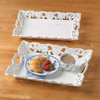 Mango Wood Carved White Trays