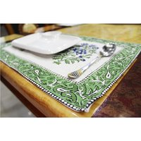 Indian Textile Cotton Fabric Custom Colourful Design Block Print Decorative Cotton Dinner Cloth Table Mat