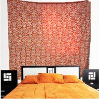 Kantha Embroidered Work Vintage Tapestry Orange Color Kalli and Floral Printed Wall Hanging and Bed spread Bedsheet