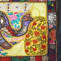 Elephant Designer Multi-Color Cotton Wall Hanging Table Runner