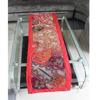 Red Multi Color Designer Cotton Wall Hanging Table Runner