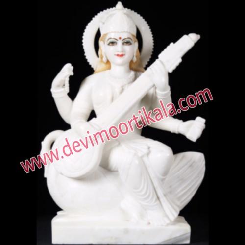 White Marble Goddess Saraswati Statue