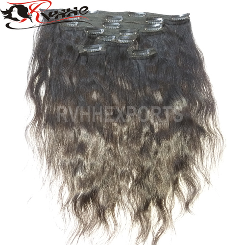 Wholesale Factory Clip Drawn Wave Indian Human Hair Extension