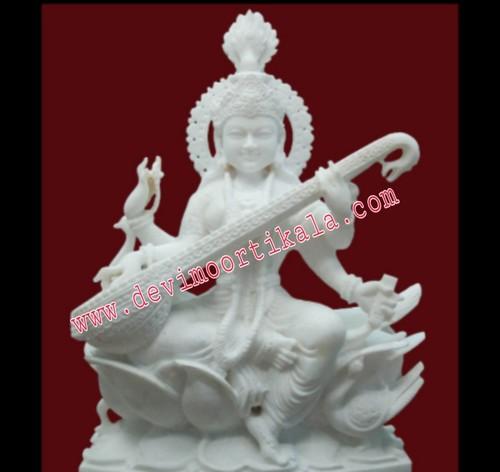 Goddess Saraswati White Marble Statue