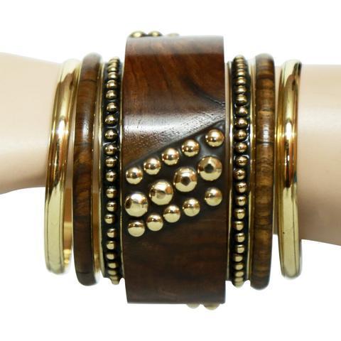 Brass wooden bangle set