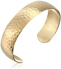 Brass hamered cuff bracelet